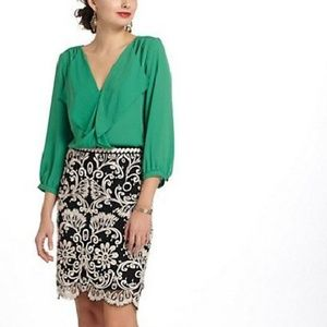 Anthropologie Maeve Parted Ruffle Green Top